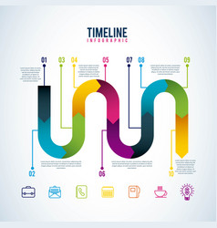 timeline infographic progress workflow option vector image