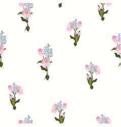 trendy tulip and garden flowers seamless pattern vector image