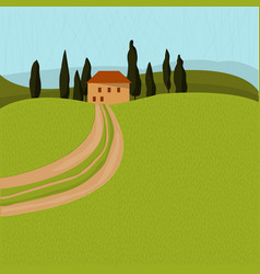 tuscan house in trees landscape with a road vector image