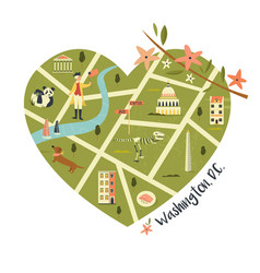 washington map with landmarks and icon vector image