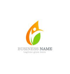 water drop leaf ecology swoosh business logo vector image