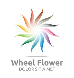 Wheel flower interest colorful icon vector