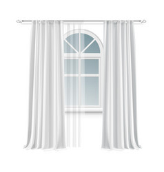 Window with curtains vector