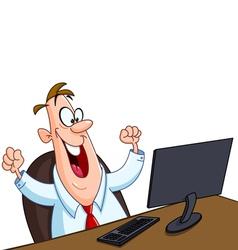 happy man with computer vector image vector image