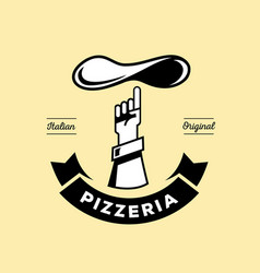 italian pizzeria logo with hand point dough vector image vector image