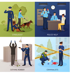 police service 4 flat icons square vector image vector image
