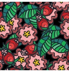 Seamless pattern with wild rose flower and vector image vector image
