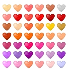 Set of colorful hearts Palitra of different vector image