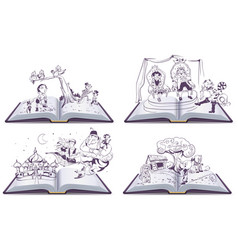 Set Open book tale story of Pinocchio vector image vector image