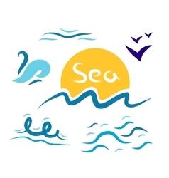 Set the wave sea gulls vector