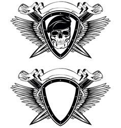 shield crossed knives and skull in beret vector image vector image