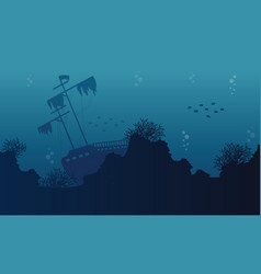 silhouette of ship on underwater collection vector image