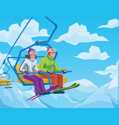 skiers riding on the lift at the ski resort vector image vector image