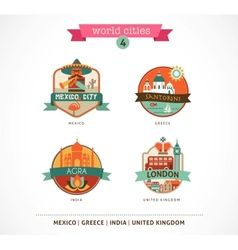 World Cities labels - Santorini London Agra Mexico vector image vector image
