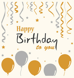 Birthday poster with balloons and ribbons template vector
