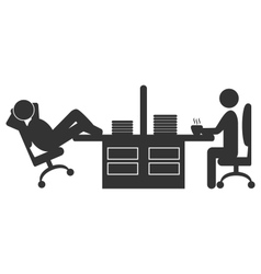 Flat office icon with workers on coffee break vector image vector image