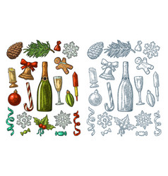 merry christmas and new year set vintage vector image vector image