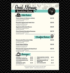 Restaurant Breakfast menu design Template layout vector image