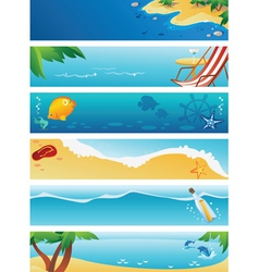 Set of 6 summer beach banners vector image