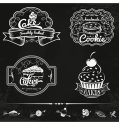 set of bakery and cakes labels design vector image vector image