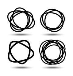 Set of hand drawn circles design elements vector