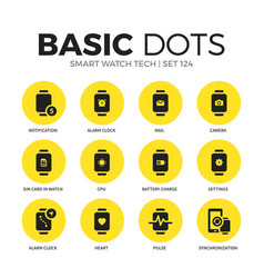 smart watch tech flat icons set vector image vector image