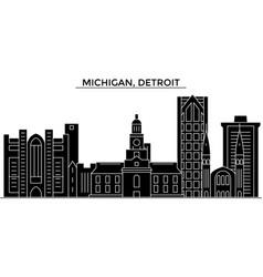 usa michigan detroit architecture city vector image vector image