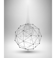 Wireframe globe sphere with connected lines and vector