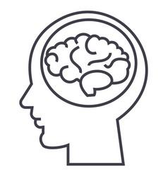 brain in headbrainstorm in mind line icon vector image vector image
