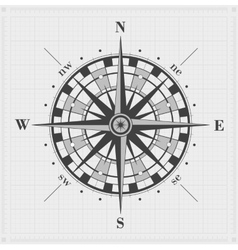 Compass rose over grid vector image vector image