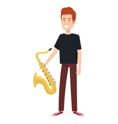 man playing saxophone character vector image