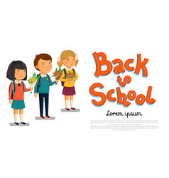 schoolboy and schoolgirls with back to vector image vector image