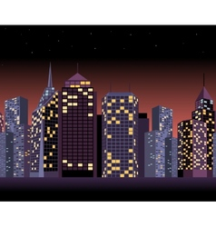 Seamless urban landscape with skyscrapers in night vector image