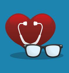stethoscope heart medical equipment vector image