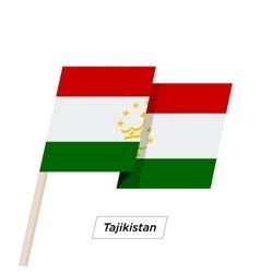 Tajikistan Ribbon Waving Flag Isolated on White vector image