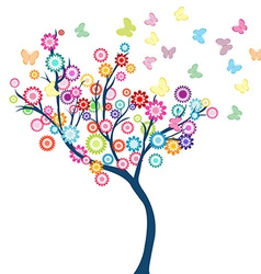 Tree with flowers and butterflies vector image vector image