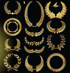 Golden Laurel wreath - set vector image vector image