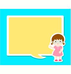 Happy little girl kid with empty speech bubble vector