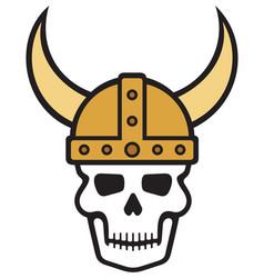 human skull and viking helmet vector image vector image