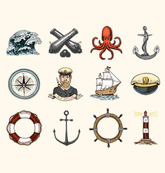 marine and nautical or sea ocean emblems set of vector image vector image