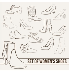 Set in the of women s shoes painted lines vector