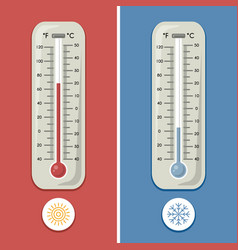 thermometer of celsius and fahrenheit meteorology vector image