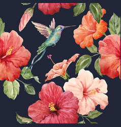 watercolor tropical hibiscus pattern vector image vector image