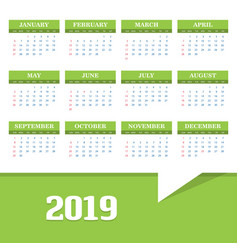 2019 calendar template background vector image