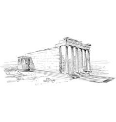 Acropolis of athens erechtheum athens greece vector