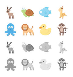 an unrealistic cartoonmonochrome animal icons in vector image