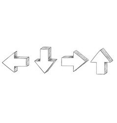 Arrows hand drawn sketch up down back forth vector