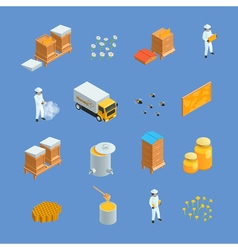 Beekeeping Apiary Isometric Icons Set vector image
