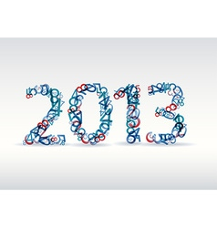 Blue New Year card 2013 made from numbers vector