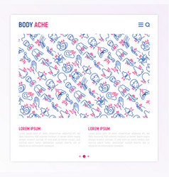 Body aches concept with thin line icons vector